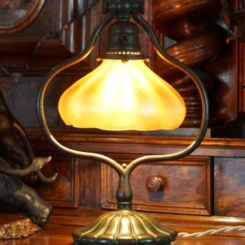 Tiffany Studios Bronze and Favrile Harp Table Desk Lamp