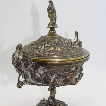"Jules Moigniez 19th Century ""Coupe Aux Cigognes"" Hunting Bronze Covered Urn"
