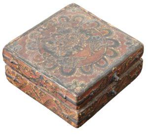 18th Century Tibetan Lotus Buddha Polychrome Wood and Iron Box