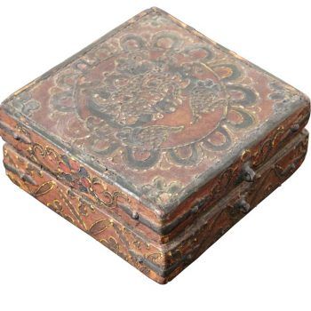 18th Century Tibetan Lotus Buddha Polychrome Wood and Iron Box