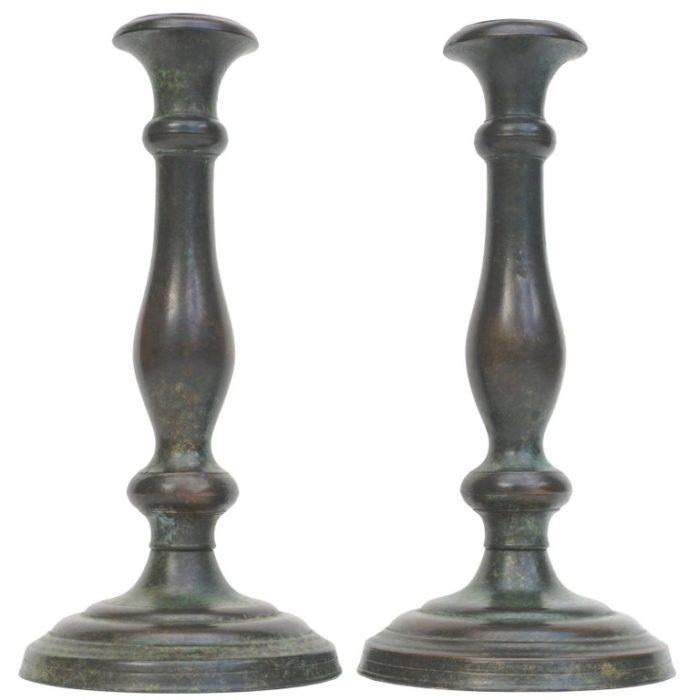 Tiffany Studios New York Patinated Bronze Art Nouveau Candlesticks
