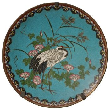 Japanese Meiji White Crane Cloisonne and Bronze Plate