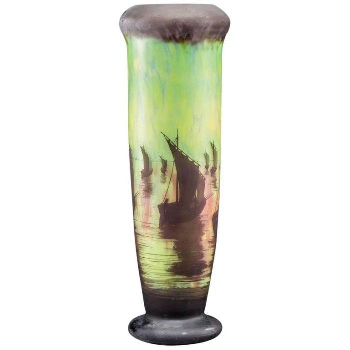 Monumental 26 Inch Daum Nancy Cameo Acid Etched Red Landscape Vase, 1900