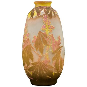 Large Art Nouveau Emile Galle Four Color Botanicals Vase. Circa 1905