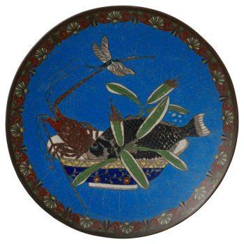 Meiji Japanese Cloisonne Bronze Plate
