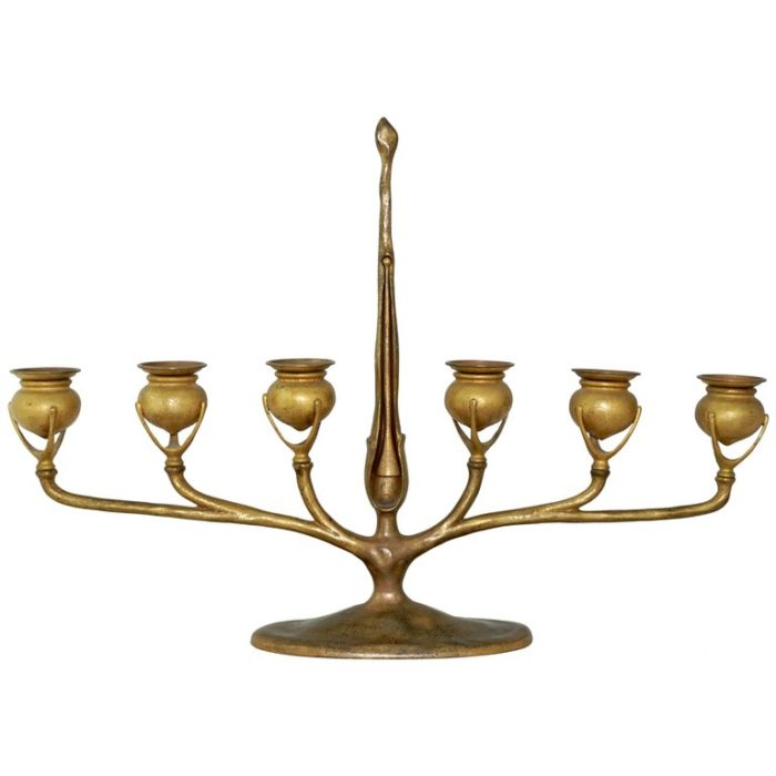 Tiffany Studios New York Gilt Bronze Six-Light Candelabrum 1907