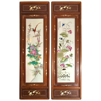 Large Pair of Chinese Republic Liu Yucen Signed Porcelain Painted Plaques, 1928