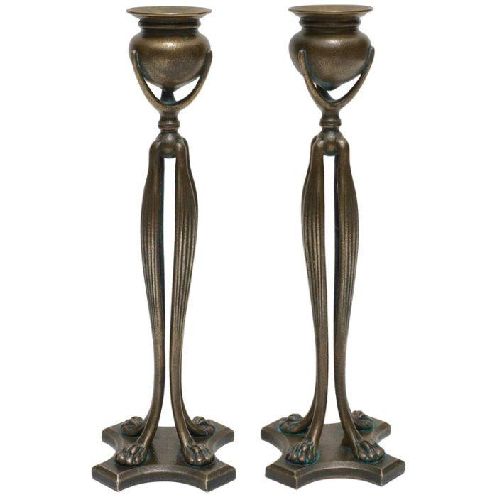 Pair of Tiffany Studios New York Art Nouveau Candlesticks, 1900