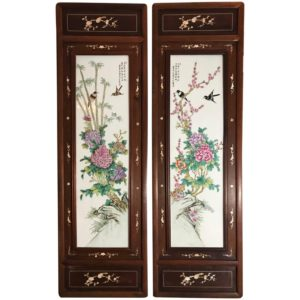 Pair of Chinese Republic Liu Yucen Signed Porcelain Painted Plaques, 1928