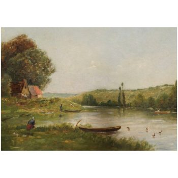 "Jacques Henri Delpy Barbizon Painting ""Bordes De Riviere"""