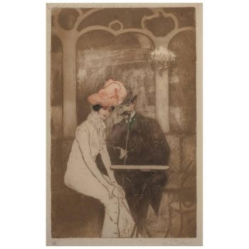 Richard Ranft Art Nouveau Aux Folies Bergere Etching, 1900