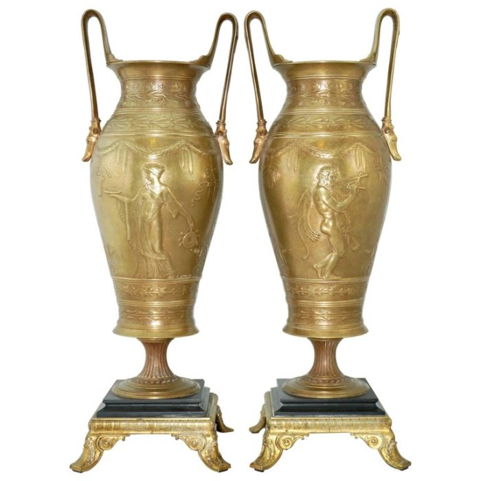 Stunning Pair of Early Ferdinand Levillain French Bronze Hand Chased Urns
