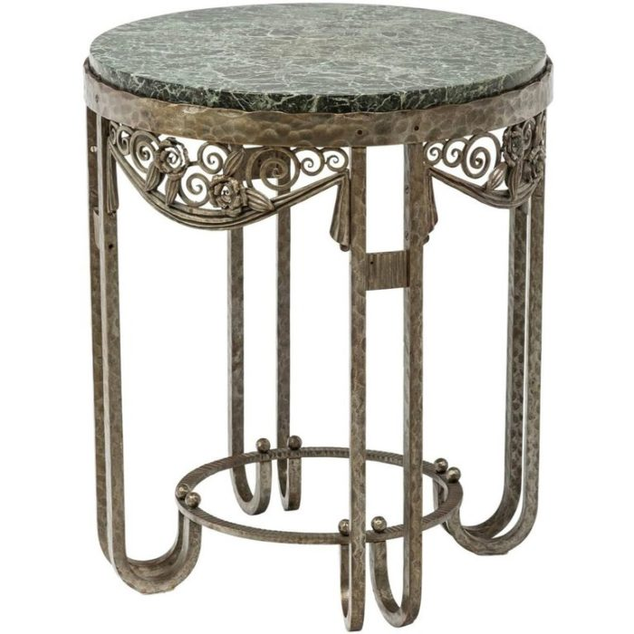 Paul Kiss Wrought Iron And Green Marble Art Deco Gueridon Console Side Table