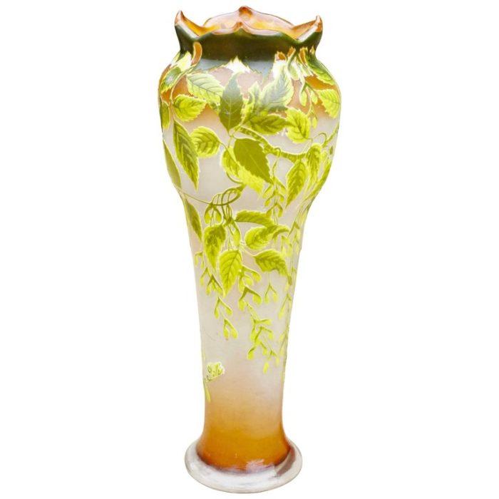 """Monumental 31"""" Emile Galle Art Nouveau Floor Vase, 1905"""