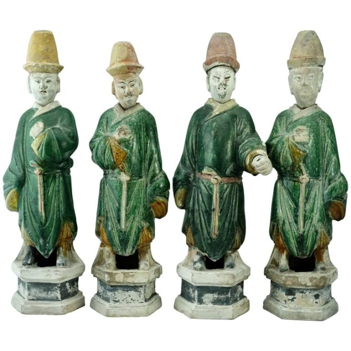 Four Chinese Ming Dynasty Tall Green Glazed Tomb Figures