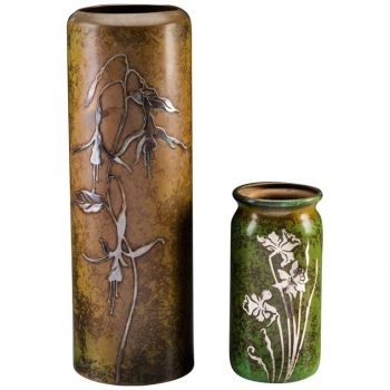 Two Heintz Silver Overlay Patinated Bronze Vases
