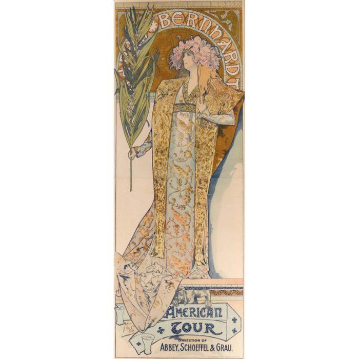Alphonse Mucha Gismonda Sarah Bernhardt American Tour Poster, 1896