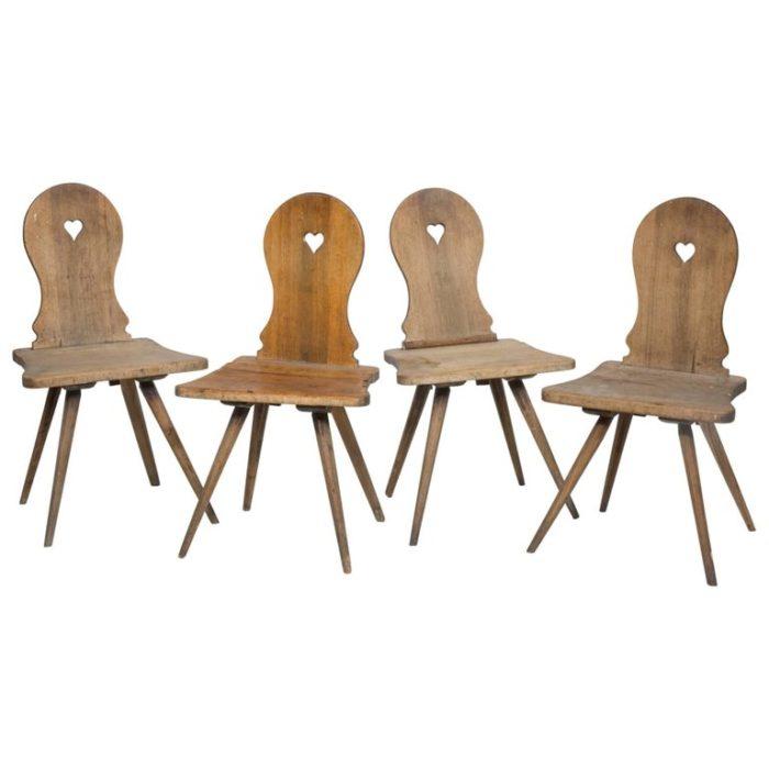 18th Century Tyrolean Alpine Rustic Oak Chairs
