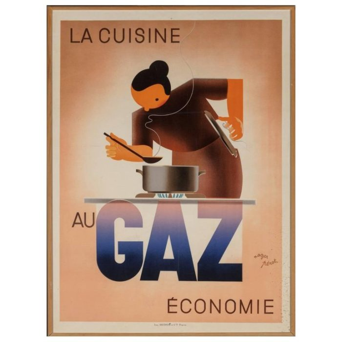 Roger Perot Lithograph La Cuisine Au Gaz Economie, 1935