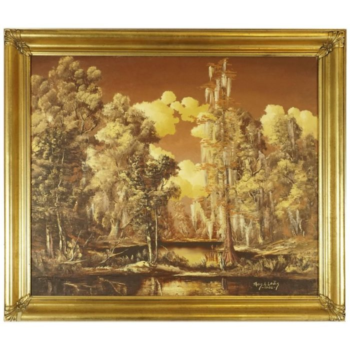 Thomas L Lewis Texas Landscape Lake Painting in Gold Sepia