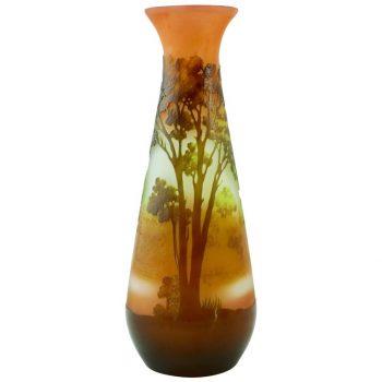 Emile Galle Art Nouveau Scenic Cameo Vase