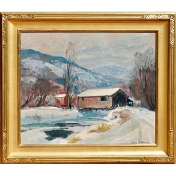 "Emile Albert Gruppe 'Mass 1896-1978' ""Covered Bridge"" Snow Painting"