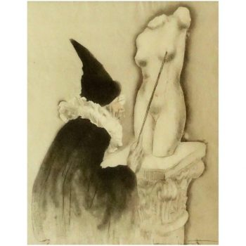 "Louis Icart Erotic Etching ""The Professor"" La Vie En Seins, 1945"