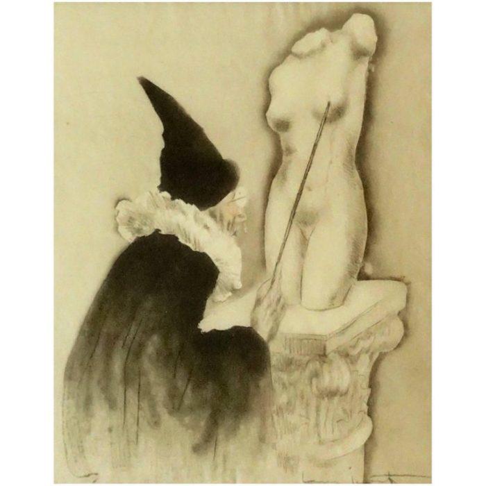 "Louis Icart Erotic Etching ""The Professor"" La Vie En Seins, 1945"