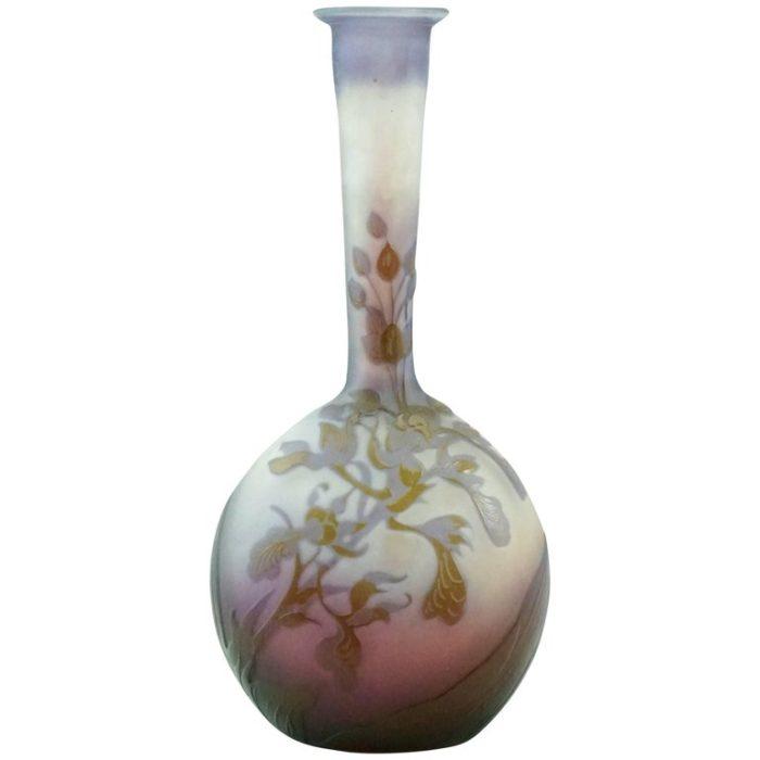 Emile Galle Rare Window Pane Banjo Cameo Vase