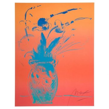 Peter Max Blue Vase Original Signed and Stamped Lithograph, 1981