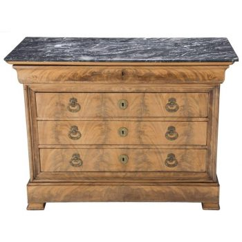 Stunning Louis Philippe French Mahogany and Black Marble Commode Chest