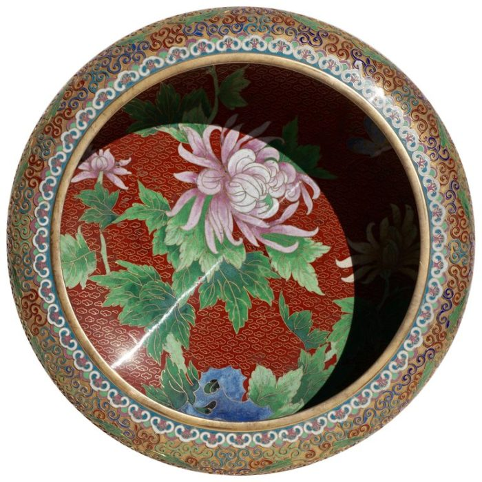 Large Chinese Cloisonné Champlevé Floral Bowl