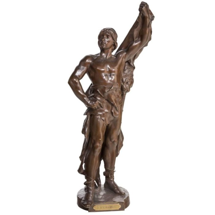 Eugene Marioton Large Bronze of Young Hercules
