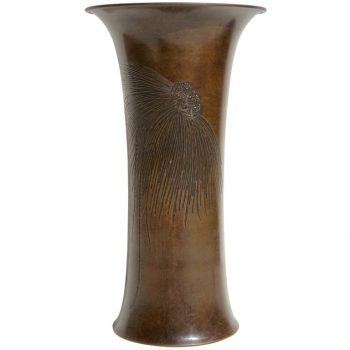 Tiffany & Co. Engraved Patinated Bronze Vase