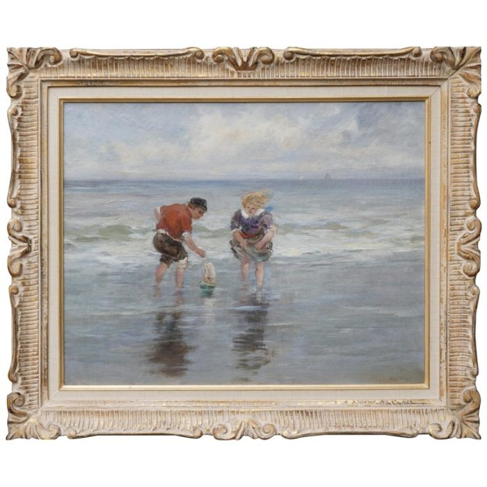 Charles Paul Gruppe, Children Playing With Sailboat In Waves