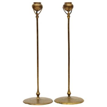 Tiffany Studios Bronze and Favrile Candlestick Lamp, 1900