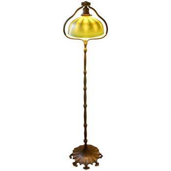 Tiffany Studios Damascene and Bronze Harp Floor Lamp