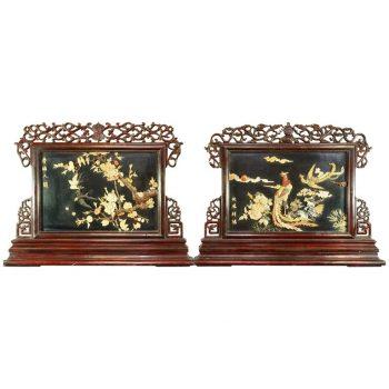 Pair of Large Chinese Republic Period Hardstone Jade Mounted Reversible Screens