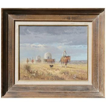 "G. Harvey Cowboys ""Crossong the Texas Plains"" Early Painting 1968"