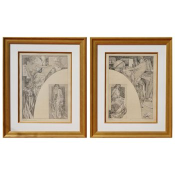 Two Alphonse Mucha Lithograph Posters from Figure Decoratives, 1905