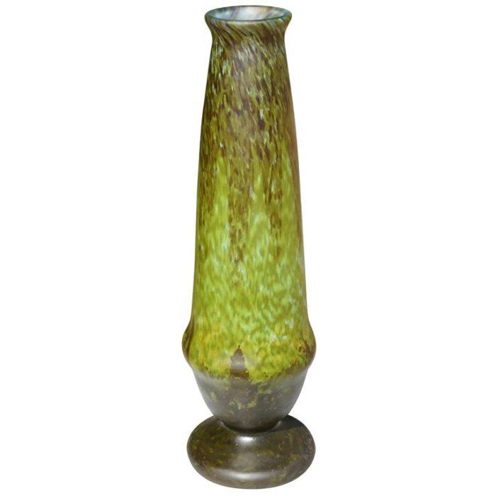 Tall Varigated Art Deco Daum Nancy Green Vase, 1920