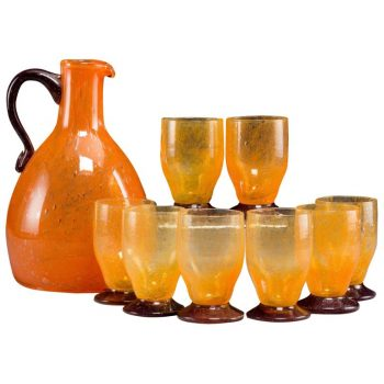 Daum Nancy France Art Deco Pitcher and Glass Cordials Set, 1930