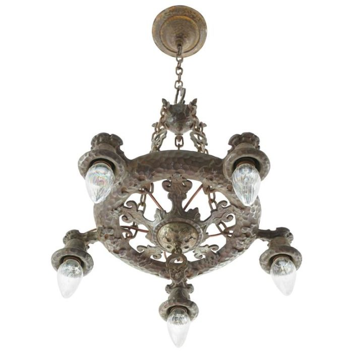 Arts & Crafts Wrought Iron Hammered Chandelier, circa 1900