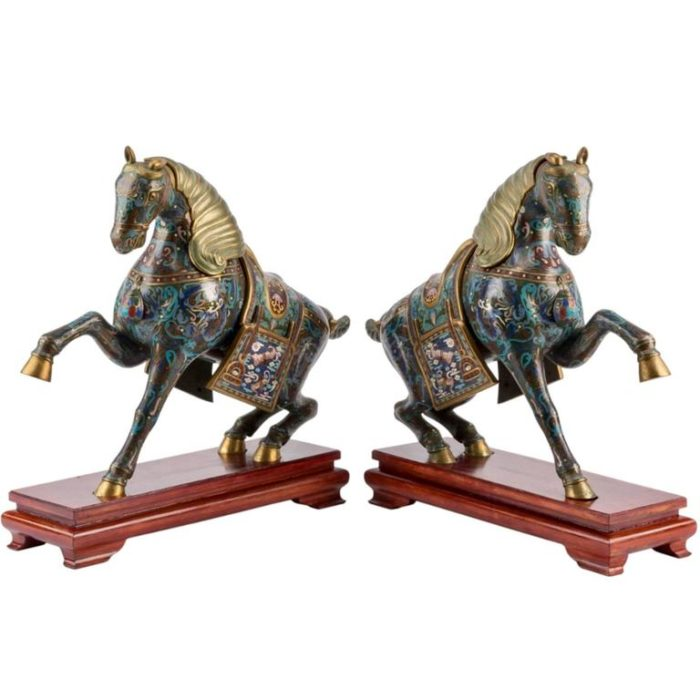 Chinese Cloisonné Horses on Stands