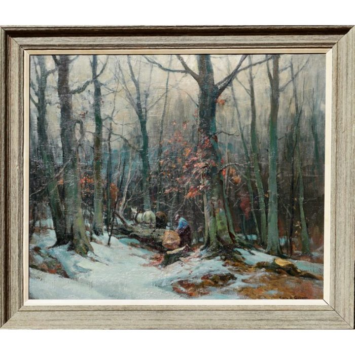 """Emile Albert Gruppe """"Woodcutters"""" Oil Painting, circa 1950"""