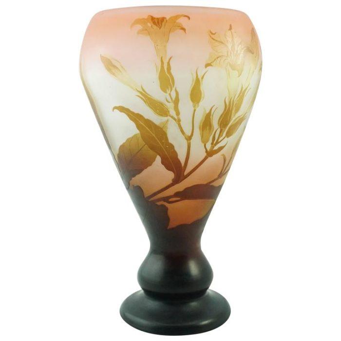 Emile Galle Large Window Pane Cameo Lily Vase