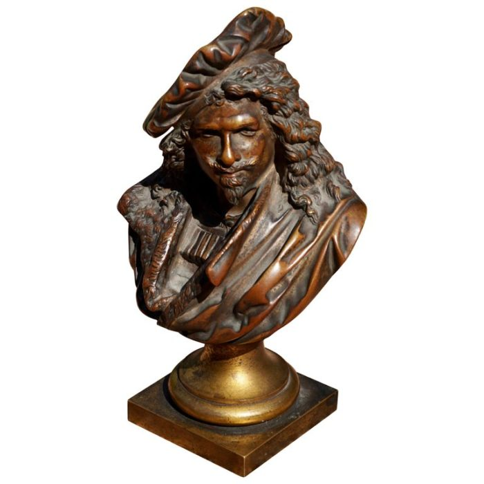 Albert Ernest Carrier-Belleuse Bronze Bust of Rembrandt