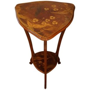 Art Nouveau Marquetry Gueridon Table Stand with Dragonflies, circa 1900