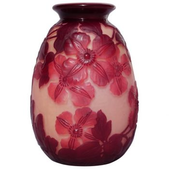 Emile Galle Blownout Red and Pink Clematis Flower Vase
