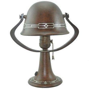 Heintz Bronze Silver Overlay Arts & Crafts Table Lamp